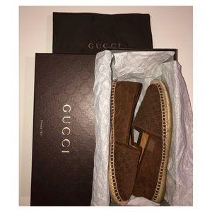 Authentic Gucci Pilar brown flat espadrilles